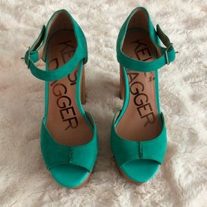 Turquoise Leather and Wood Kelsi Dagger Heels